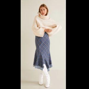 Mango Checked asymmetric skirt